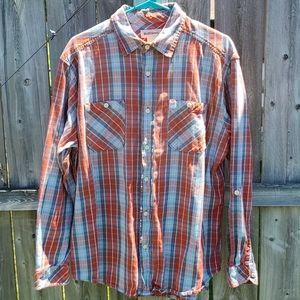 Plaid Button Down Shirt Burnt Orange & Light Blue